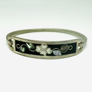 1950s TAXCO Sterling Abalone Inlaid Hinge Bracelet